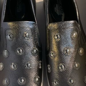 Michael Kors metallic leather slip ons